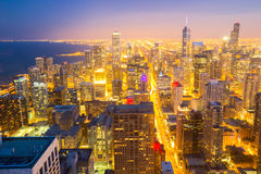 Chicago City downtown aerial Royalty Free Stock Image