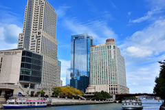 Chicago City downtown and Chicago river Stock Photos