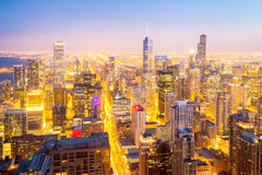 Chicago City downtown at dusk. Aerial view of Chicago City downtown at dusk Royalty Free Stock Image
