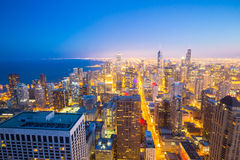 Chicago City downtown at dusk. Stock Photos
