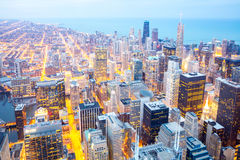 Chicago City downtown at dusk. Royalty Free Stock Photos