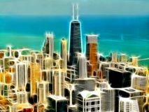 Chicago city illustration Stock Images