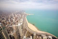 Chicago city and Lake Michigan Royalty Free Stock Photos