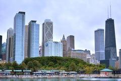 Chicago city by Michigan Lake, near Navy Pier. Chicago city buildings beside Michigan Lake, Chicago city, Illinois, United States Royalty Free Stock Photo