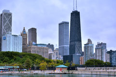 Chicago city near Michigan Lake Stock Photography