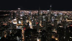Chicago City at Night. View downtown Chicago at night stock images