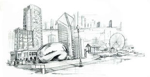 Chicago city pencil drawing Stock Photo