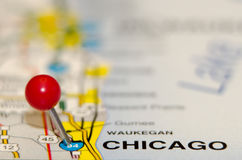 Chicago city pin. On the map Royalty Free Stock Photos