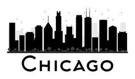 Chicago City skyline black and white silhouette. Stock Photo
