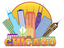 Chicago City Skyline Color in Circle Vector Illustration Stock Photography