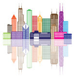 Chicago City Skyline Color Vector Illustration. Chicago City Skyline Panorama Color Outline Silhouette with Reflection  on White Background Illustration Stock Image