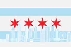 Chicago City Skyline Flag Color vector Illustration Royalty Free Stock Photography
