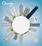 Chicago city skyline with grey skyscrapers,  blue sky and copy s Royalty Free Stock Photography
