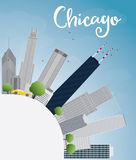 Chicago city skyline with grey skyscrapers, blue sky and copy sp Stock Photography