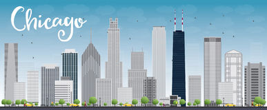 Chicago city skyline with grey skyscrapers and blue sky Royalty Free Stock Image