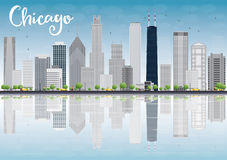 Chicago city skyline with grey skyscrapers and reflections Royalty Free Stock Images