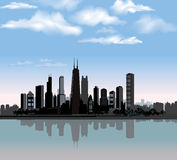 Chicago city skyline. Illinois, USA. Chicago city skyline detailed silhouette with reflection in water. Illinois Vector illustration vector illustration