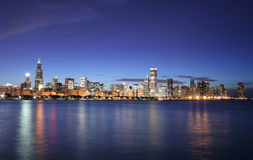 Chicago city skyline at night Stock Images