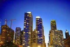 Chicago city skyline night stock image