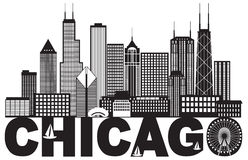 Chicago City Skyline Text Black and White vector Illustration. Chicago City Skyline Panorama Black Outline Silhouette with Text Isolated on White Background stock illustration