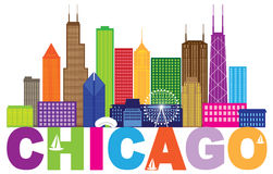 Chicago City Skyline Text Color vector Illustration Stock Image
