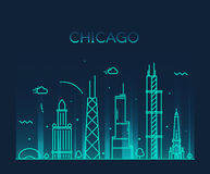 Chicago City skyline Trendy vector line art Royalty Free Stock Photo