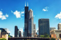 Chicago City skyline with Willis Tower. Willis Tower in Chicago on the Chicago River royalty free stock photo