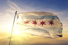 Chicago city of United States flag textile cloth fabric waving on the top sunrise mist fog. Beautiful vector illustration