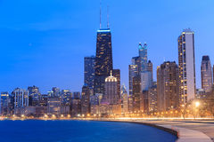 Chicago city urban skyscraper at night at downtown lakefront ill Stock Image