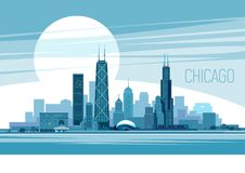 Chicago. Of Chicago City. Vector illustration Royalty Free Stock Photos