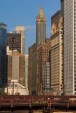 Chicago city view. Including Clark Street Bridge stock photo