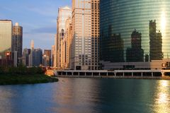 Chicago City View. As seen from The Chicago River Stock Images