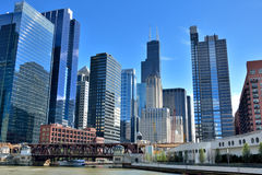 Chicago city view along the Chicago River Royalty Free Stock Image