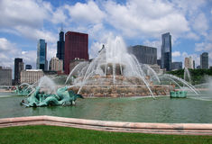 Chicago city view. Buckingham Fountain. USA Stock Photos