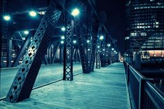Chicago city vintage river drawbridge with urban buildings at night. Chicago city vintage river drawbridge with urban downtown buildings at night Royalty Free Stock Image
