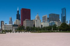 Chicago cityscape on a bright sunny day. A photograph of some skyscrapers in down town Chicago IL on bright summers day stock photo