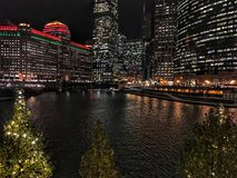 Chicago cityscape illuminated with Christmas holiday decorations and city night lights reflecting on the river and trees in front. Chicago cityscape illuminated Royalty Free Stock Images