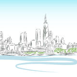 Chicago Cityscape Line Drawing Royalty Free Stock Photos