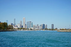 Chicago Cityscape. With water in the foreground. Clear blue day with an open sky. No clouds Royalty Free Stock Image
