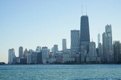 Chicago Cityscape. With water in the foreground. Clear blue day with an open sky. No clouds Royalty Free Stock Photo