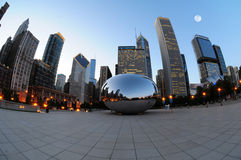 Chicago Cloud Gate. Photographed after sunset during the magical hour Royalty Free Stock Photo