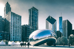 Chicago Cloud Gate. Chicago, USA, April 2015: Cloud Gate sculpture also nicknamed The Bean, located in Millennium Park, Chicago, Illinois Royalty Free Stock Image