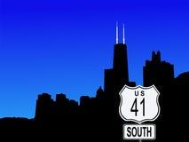 Chicago con la muestra de la carretera 41 Imágenes de archivo libres de regalías