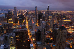 Chicago con la torretta del Hancock veduta dalla torretta di Willis Fotografia Stock