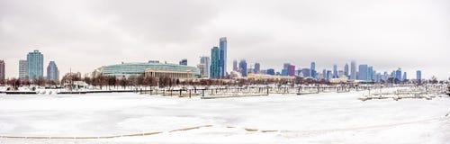 Chicago congelada en medio del invierno fotos de archivo