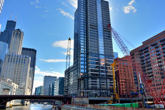 Chicago constructions in city downtown. Chicago city buildings and constructions beside Chicago River. Photo taken in October 6th, 2014 Royalty Free Stock Image