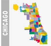 Chicago cooorful neighborhood vector map.  Royalty Free Stock Photos