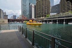 Chicago Cruise Boats and Riverwalk Royalty Free Stock Image