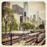 Chicago CTA bus and train Royalty Free Stock Photo