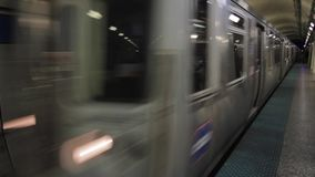 Chicago CTA train in the Subway. Transportation in Chicago, 1080p, underground subway stock video footage